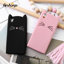Fintorp 3D Silicone Case For Sony Xperia XA1 Ultra L1 L2 Cases Cute Cat Ear Cover For OnePlus 5 6 6T 5T 3 Protective Cover(China)