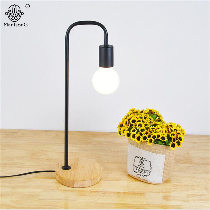 Modern Table Lamp Iron E27 AC 90V-260V Wood Base No Lampshade for Study Bedroom Desk Reading Light Lamps Black & White 2 Colors modern table lamp simple desk lamp e27 iron wood table lights for bedroom living room children reading book light study lighting
