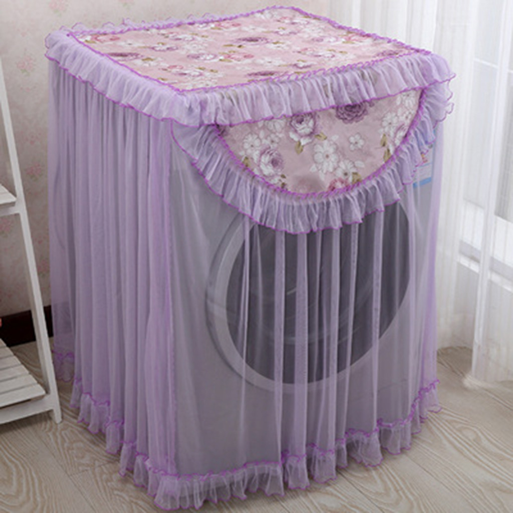 Deep purple flower Lace Ruffle Floral Washing Machine Dust Cover Protection Front Durable Soft Home Lace 60*60*85 Dust CoverDeep purple flower Lace Ruffle Floral Washing Machine Dust Cover Protection Front Durable Soft Home Lace 60*60*85 Dust Cover