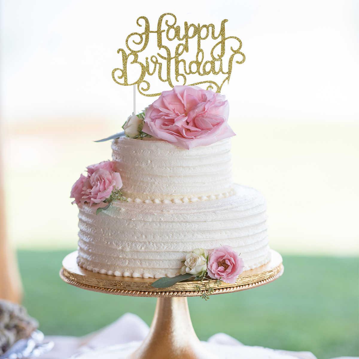 Phenomenal 10Pcs Glitter Happy Birthday Cake Topper Alternative Party Funny Birthday Cards Online Fluifree Goldxyz