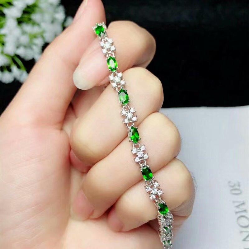 Shilovem 925 argent sterling naturel diopside link Bracelets bijoux fins femmes à la mode de mariage en gros nouveau bl030501agt