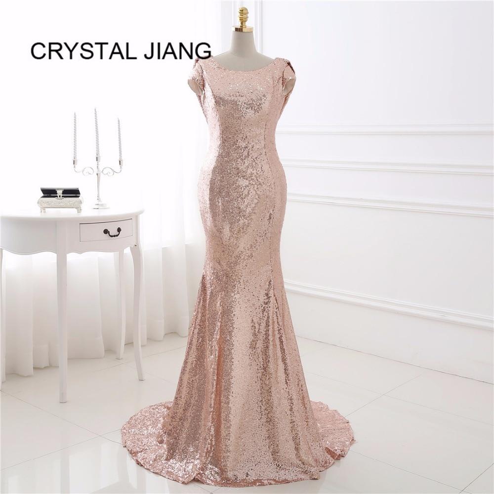 Cristal JIANG 2019 robes de demoiselle d'honneur sirène Scoop col Sequin manches courtes dos ouvert robe de mariée invité vestido madrinha