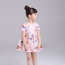 European Style Summer Baby Girl Pink Cotton Children Cartoon Print Dress For Party And Wedding Princess Dress Toddler Clothing