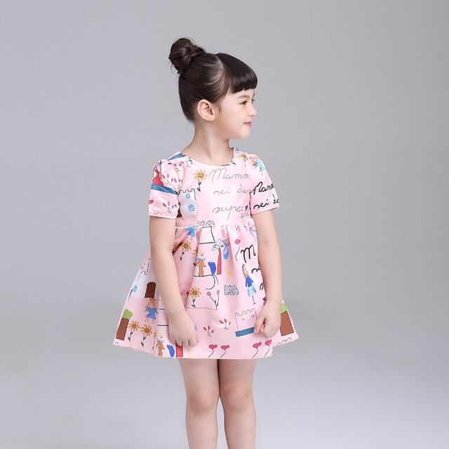 Style Europeen D Ete Bebe Fille Rose Coton Enfants Impression De