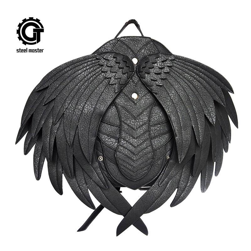 Punk Wing Leather Backpack Gothic Women Men Black Ghost Monster Vampire Retro Backpack Steampunk Fashion Travel Casual Bags New
