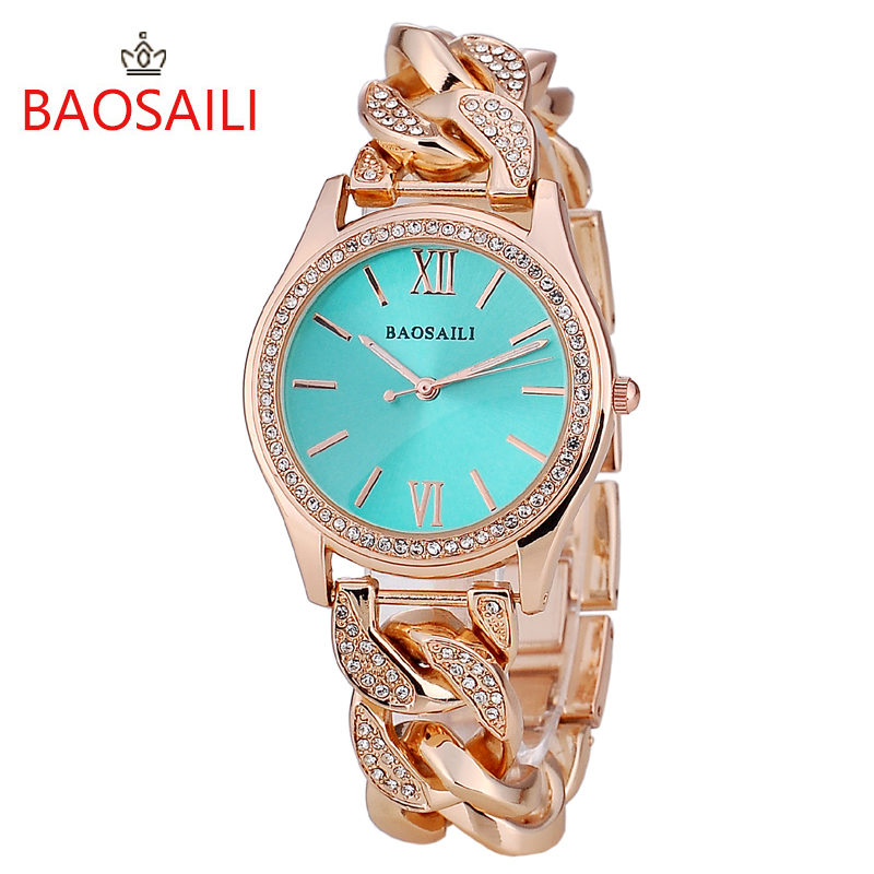 BAOSAILI Brand Women Watches Diamond Stainless Steel Ladies Quartz WristWatch Top Luxury Bracelet Watch Relogio Feminino Hodinky feitong luxury brand watches for women ladies watch full stainless steel gold mesh band wristwatch wristwatch relogio feminino