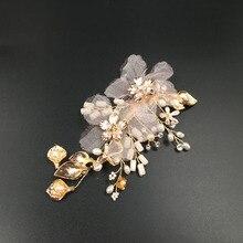 Gorgeous Golden Flower Leaf Rhinestones Crystals Freshwater Pearls Wedding Hair Clip Barrette Bridal Headpiece Hair accessories