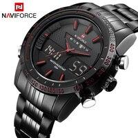 Часы мужские NAVIFORCE 9024 люксовый бренд полный Сталь кварцевые часы цифровой светодиодный часы военный спортивные часы relogio