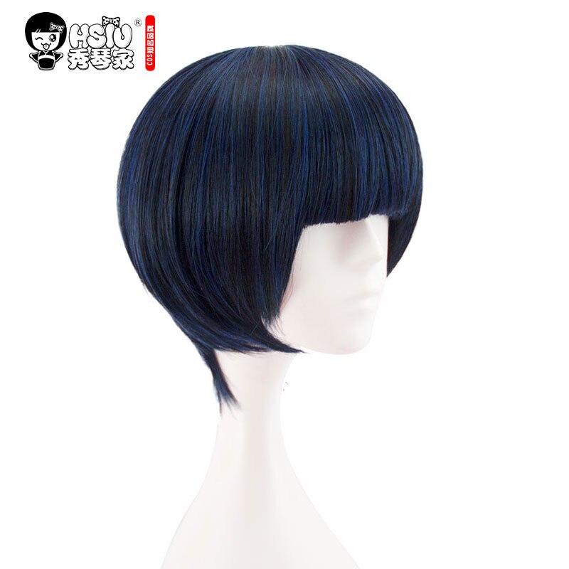 HSIU persona5 Takemi Tae Cosplay Peruca de Alta qualidade Anime jogo Curto Azul Preto Mista Jogo Do Traje Perucas de Cabelo Do Dia Das Bruxas