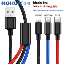 NOHON Nylon 3 in 1 Fast Charger Cable Lighting For iPhone X 7 8 6 Plus Micro USB Type C For Samsung Xiaomi 5 Charging Line 1.2M