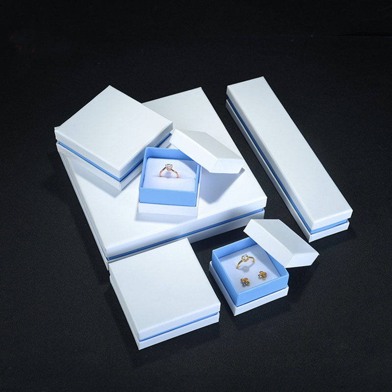 White Paper Jewelry Box For Rings Earring Necklace Set Display Packaging Pink /Blue Rangement Bijoux Gift Boxes For Jewellery
