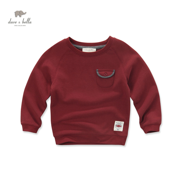 DK0514 dave bella outono bebê meninos t-shirt do vinho vermelho sólido meninos top t dos miúdos