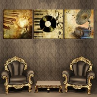 No Frame Musical Instruments 3 Panel Wall Painting Retro Home Decoration Pictures Canvas Art Pictures Painting
