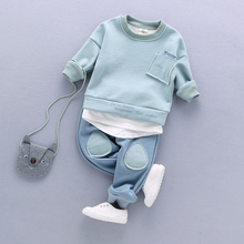 Baby Boy Girl Clothes Sets Long Sleeve Fake Two Pieces Shirt +Pant 2pcs Kids 6M-4T Childrens for