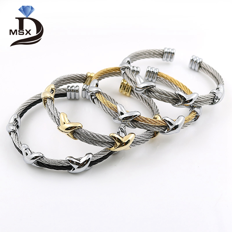 MSX 4 Style Fashion Stainless Steel Men and Women Star Bracelets Wristband Adjustable Wire Love Punk Bracelet Bangle Pulseiras