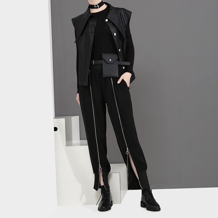 [EAM] 2018 new spring Zipper Decoration high waist solid color black green loose pants women trousers fashion all-match JC58801 15