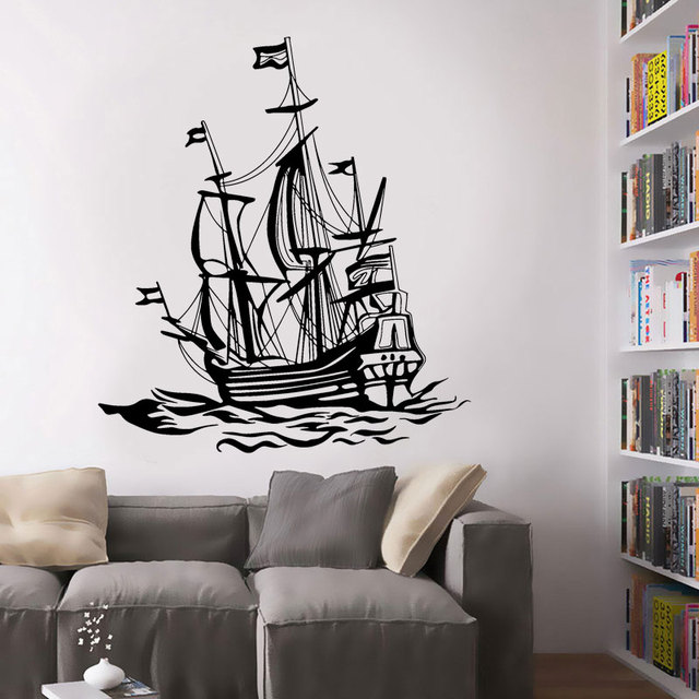 Vintage Nautical Home Decor Ship Sailboat Ocean Fishing boat Marine     Vintage Nautical Home Decor Ship Sailboat Ocean Fishing boat Marine Sea  Waves Vinyl Wall Sticker For