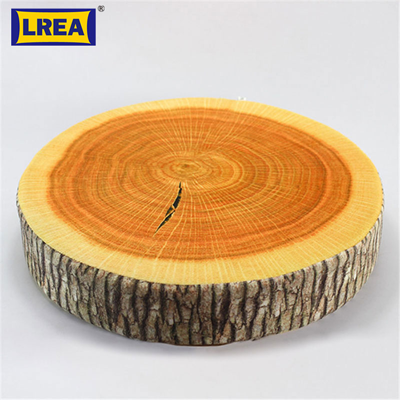 Brand cheap pastoral style printed plant round creative Tree Stump Wood Sofa and Car seat Cushion Pillows 38cm 38cm 7cm LREA in Cushion from Home Garden