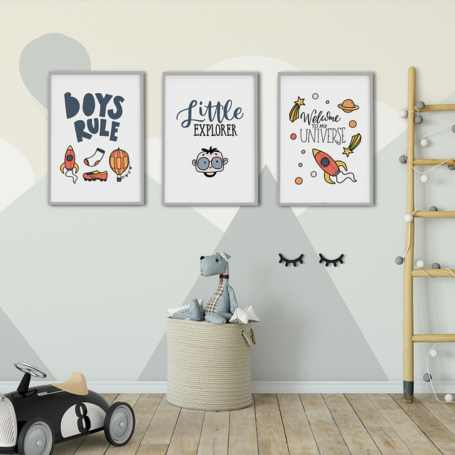 Boys Rule Kids Room Poster Nordic Style Kids Decoration Scandinavian  Picture Poster Art Wall Art Picture Home Decor Canvas Print