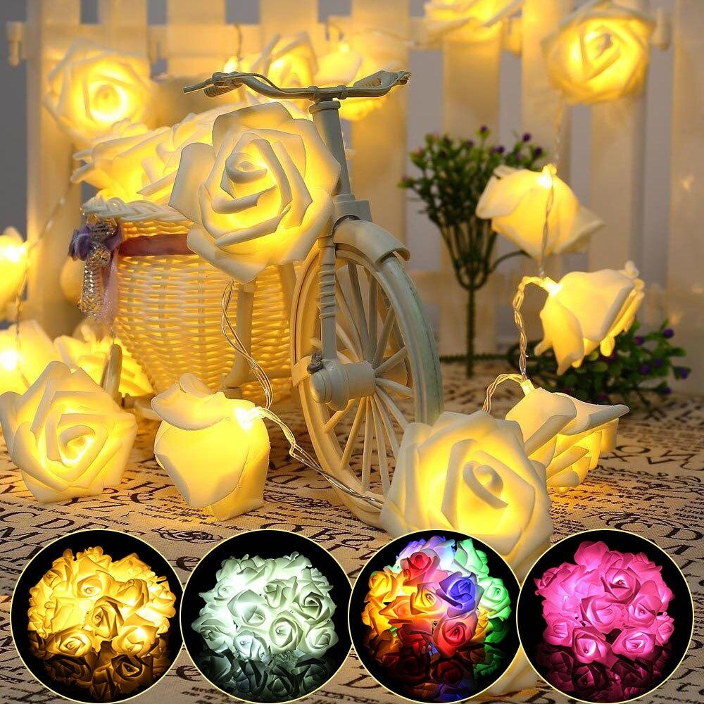 10/ 20 LEDs Rose Flower LED String Lights Battery \ USB Powered Fairy Lights Wedding String Lights Home Decoration Christmas D30
