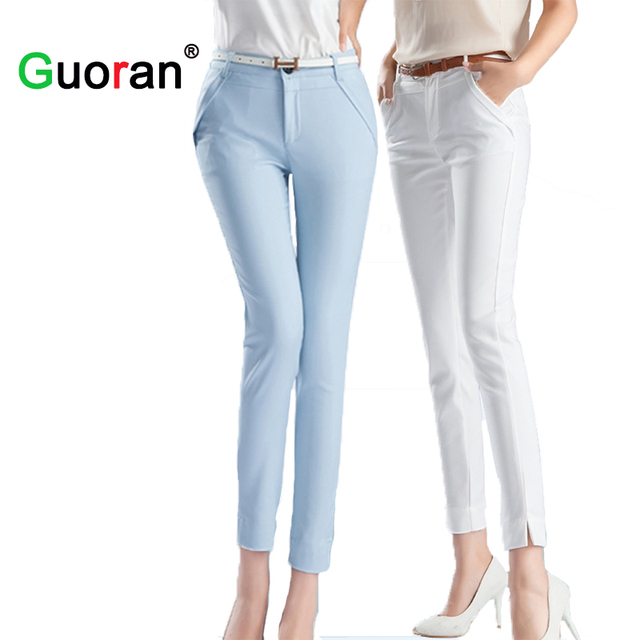 high quality office work. {Guoran} High Quality Women Office Work Pants Black White Blue Ladies Trousers Ankle- U