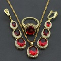 2015 New Red Garnet  Gold Plated  Wedding Bridal Jewelry Set  Necklace Chain Pendant Long Drop Earring Ring Free Gift Box 16