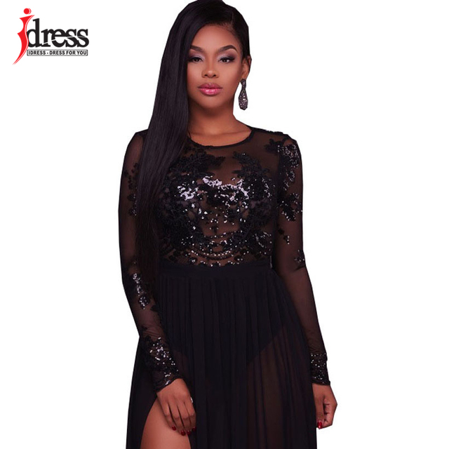 34c240e2b9c5 IDress Blue Black White Vestido Online Shopping India Women Sexy Backless  Jumpsuit Robe Longue Femme Sequin Long Sleeve Bodysuit