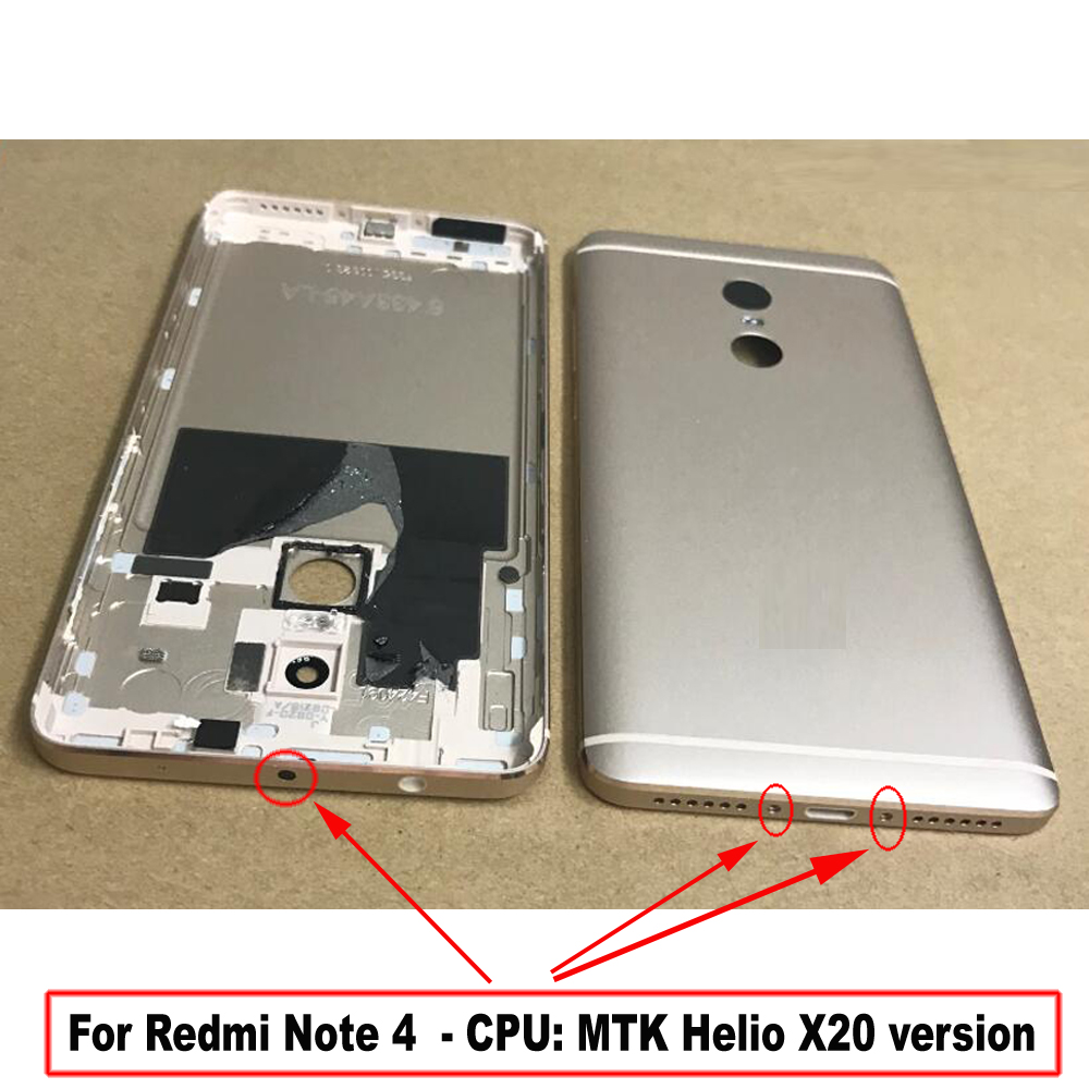 Best <font><b>Back</b></font> <font><b>Cover</b></font> Battery Door Housing Case For <font><b>Xiaomi</b></font> <font><b>Redmi</b></font> <font><b>Note</b></font> 4 <font><b>4X</b></font> MTK Helio X20 / Snapdragon 625 with camera lens + buttons image