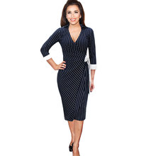 2016 Womens New Fashion Formal Work Stripe Dresses Big Size Lady Casual Party Bodycon Deep V Neck Long Sleeve Dress with Belt