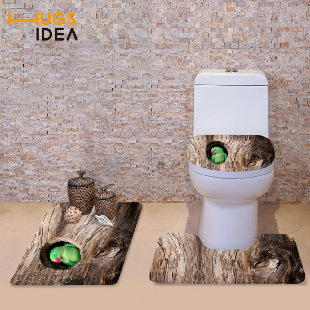 HUGSIDEA Funny 3D Animals Parrot Owl Printed Toilet Seat Cover ...