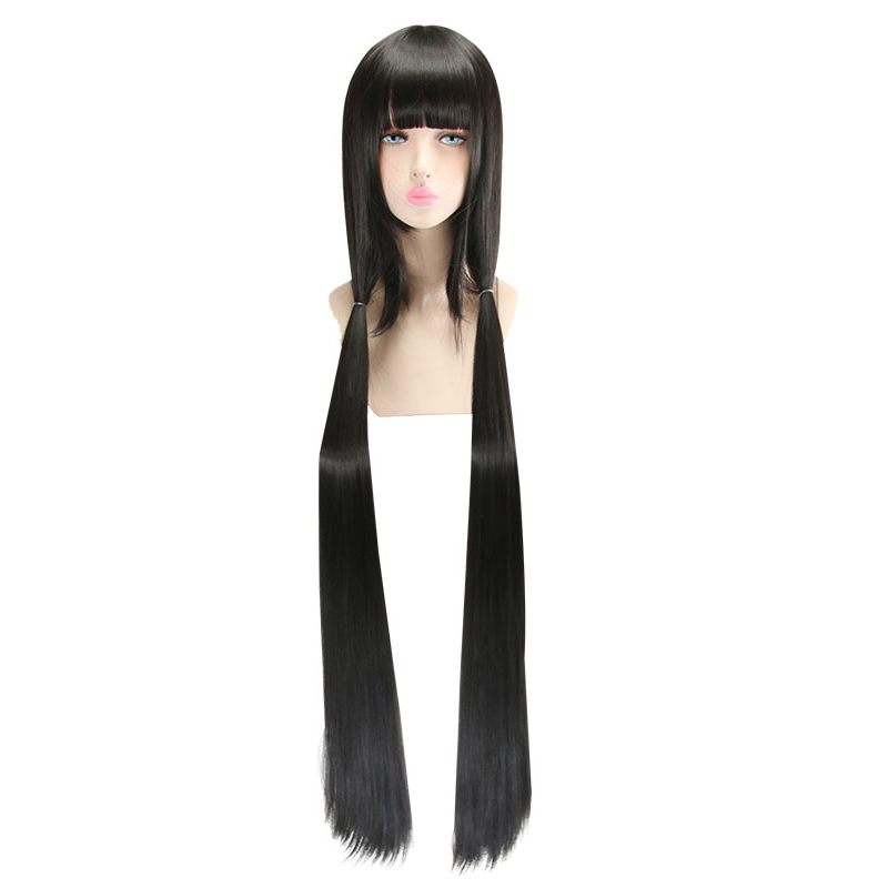 HSIU Harukawa Maki Cosplay Wig New Danganronpa V3 Costume Black Long Straight Play Wigs Halloween Costumes Hair Free Shipping