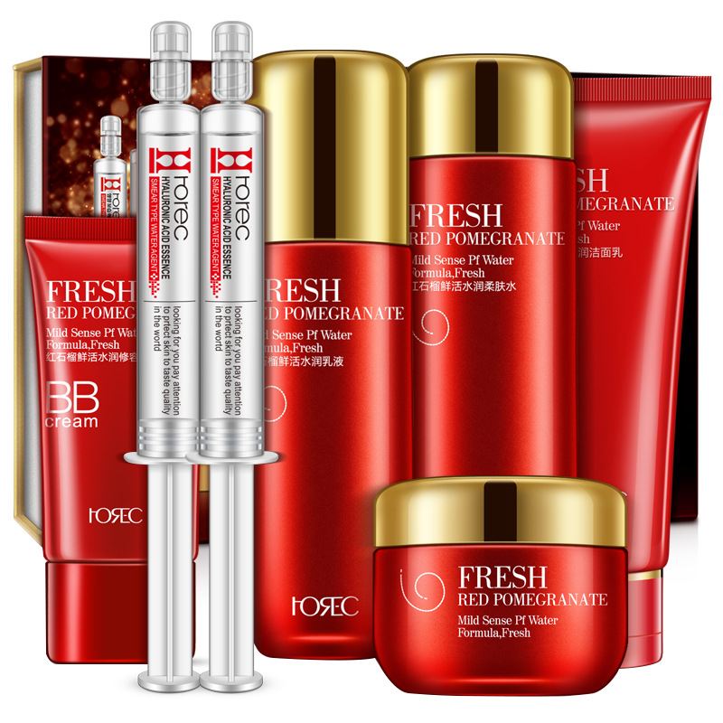 Red Pomegranate Fresh & Nourish Set Skin Care Cleanser, Toner, Water Essence, Nourish Lotion, Nourish Cream, BB Cream new arrival red pomegranate cleanser cream lotion smoothing toner skin care beauty set moisturizing freckle dark spot remover
