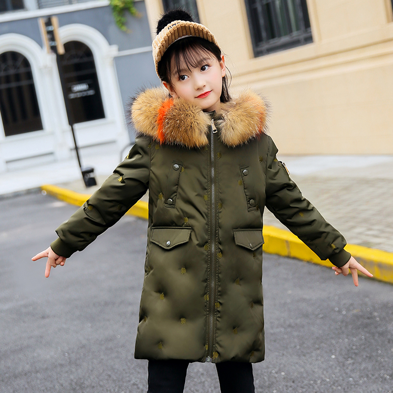 HSSCZL Girls Duck Down Jackets 2018 New Brand Winter Thick Children kids Down Coat Outerwear Overcoat Embroidered Hooded Clothes kids parkas hooded coat children s winter jackets warm duck down for girl clothes children outerwear thick overcoat enfant