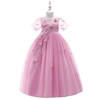 Lace Teenagers Kids Girls Wedding Dress Long Full elegant Princess Party Frocks Princess Formal Dress Birthday Party Clothes