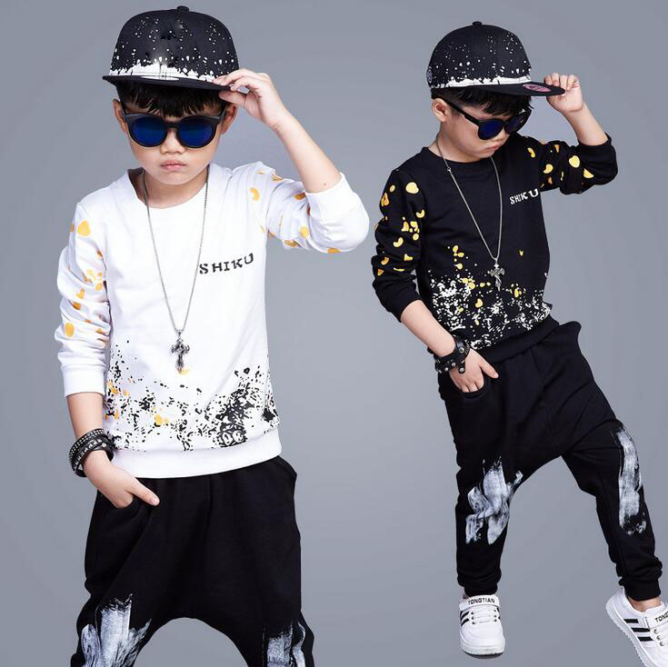 2017 Autumn Boys Clothes Sets Fashion Sport Suits Long Sleeve Sweatshirts + Haren Pants Cotton Outfits Hip hop vetement garcon wholesale new fashion autumn casual sport suits tracksuits for kids gold chain printing hip hop outwear boys clothing sets