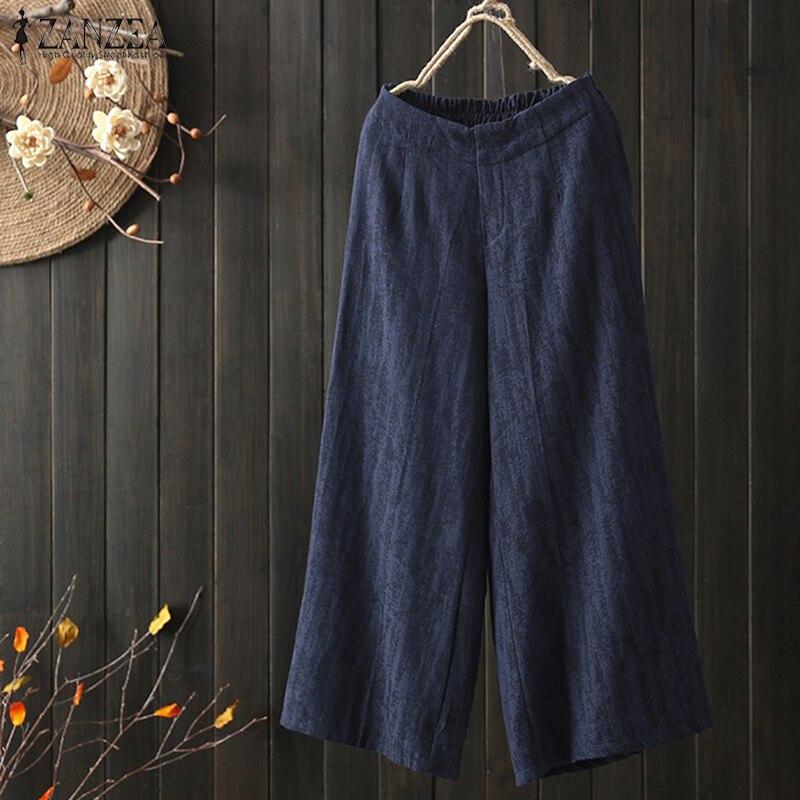 2018 Autumn Women   Wide     Leg     Pants   ZANZEA Elastic Waist Pockets Loose Solid Work OL Pantalon Trousers Cotton Linen   Pants   Plus Size
