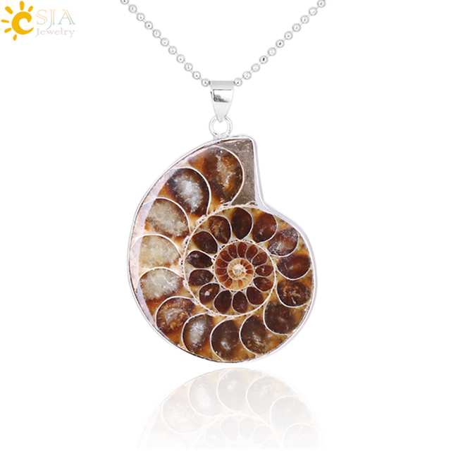 CSJA 天然石アンモナイト化石貝殻カタツムリペンダント海 Reliquiae 巻き貝動物ネックレス声明男性ジュエリー E252