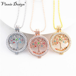 Vinnie Design Jewelry Fashion Women Jewelry Tree of Life Coin Disc with Colorful Stone Pendant Necklace