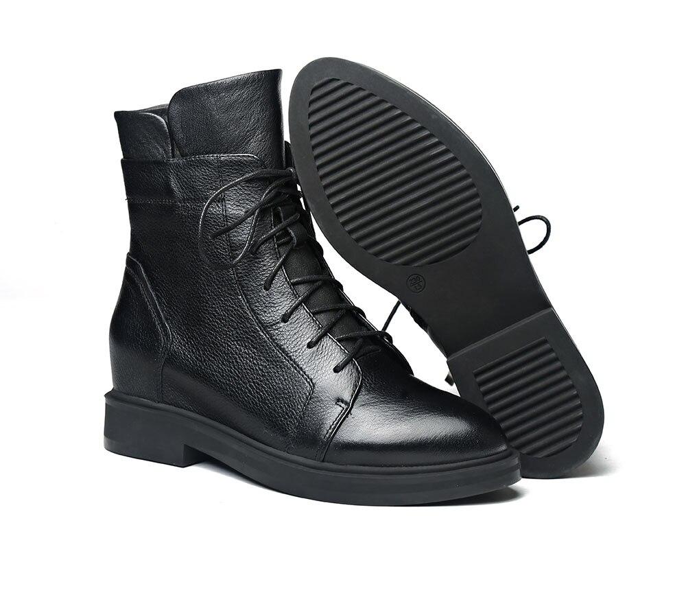 Otoño Invierno cuñas botas para mujer slip on Ankle Boots moda punta puntiaguda botas de felpa corto botas femeninas 2018-in Botas hasta el tobillo from zapatos    2