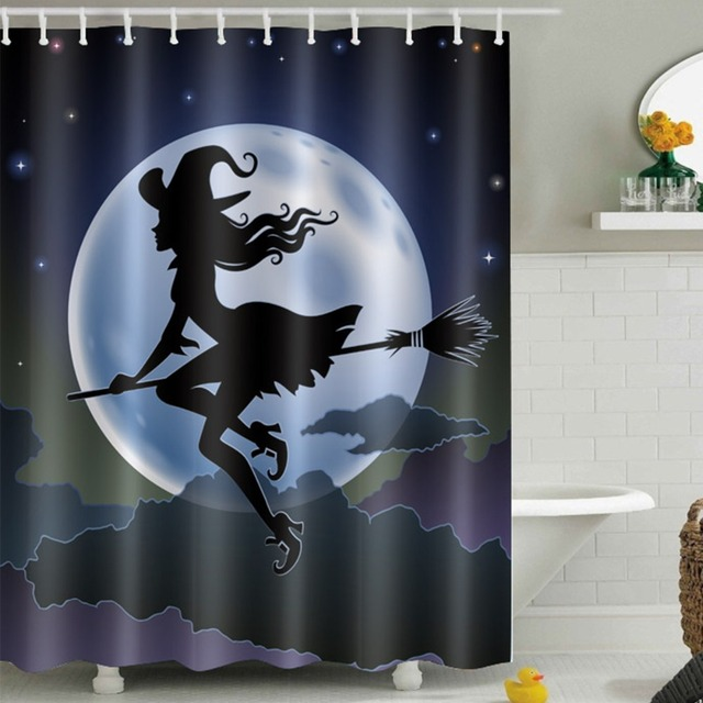 LB 180180 Witch Moon Night Sky Shower Curtains Halloween Waterproof Polyester Bathroom Curtain Fabric For Bathtub Home Decor