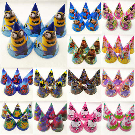6pc Mickey Minnie Mouse Spiderman Avengers Hello Kitty Sofia Princesses Minions Troll Moana Caps Party Supplies Hat Decoration