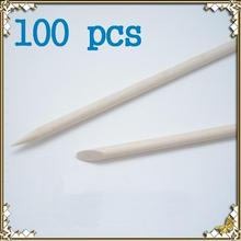 Do paznokci Nail Art Pedicure patyczek do skórek z drewna pomarańczowego do usuwania 100 sztuk tanie tanio Pusher skórek wood 11 5cm (3 5 )
