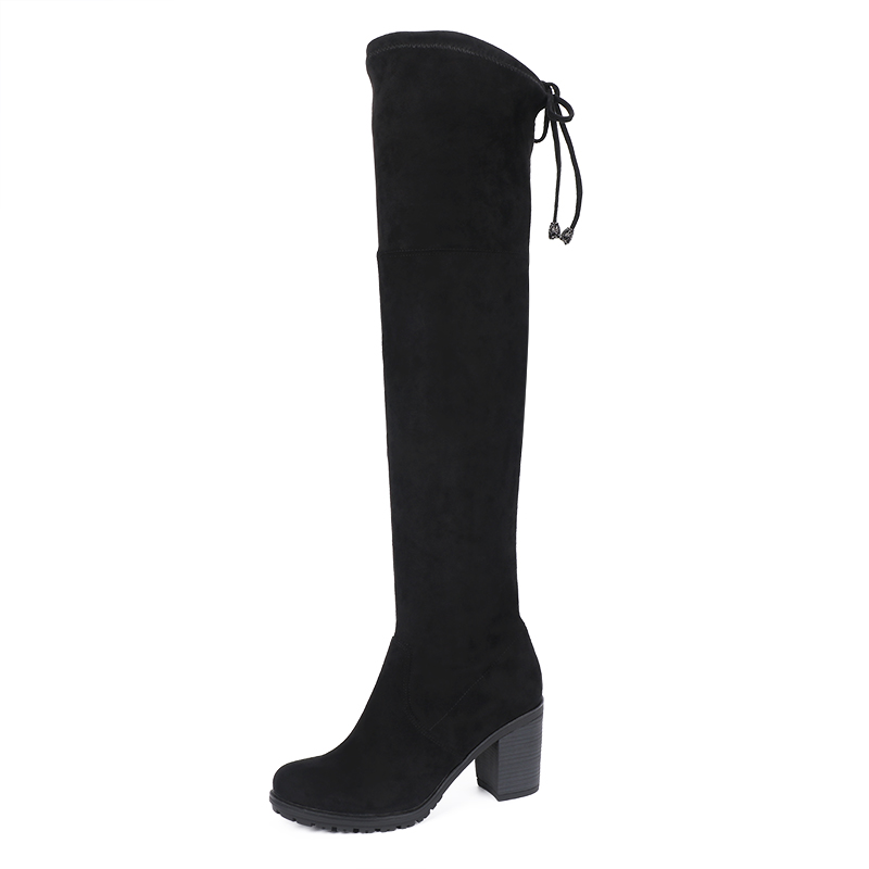 AIMEIGAO Faux Suede Over The Knee Boots High Heels Thigh high Women Boots Comfort Square Heels Plus Size Platform Woman Shoes