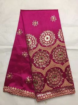 5 Yards/pc Top sale fuchsia George lace fabric with small gold sequins flower design african cotton lace for clothes JG15-1