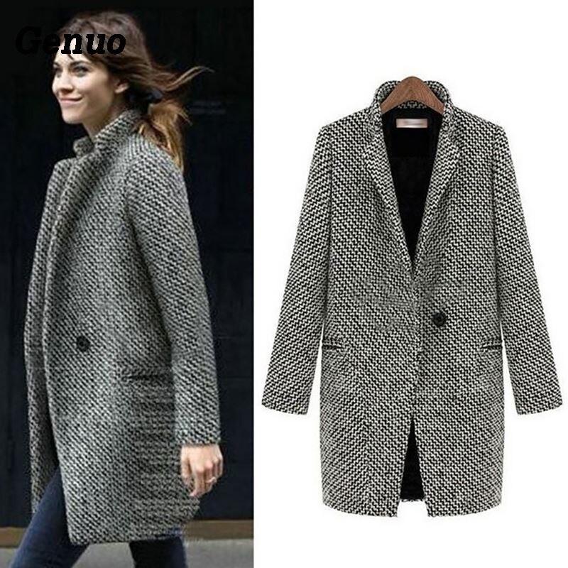 Genuo Autumn Winter Suit Blazer Women 2018 Formal Wool Coat Jackets Work Office Lady Long Sleeve Blazer Outerwear Plus Size 7XL