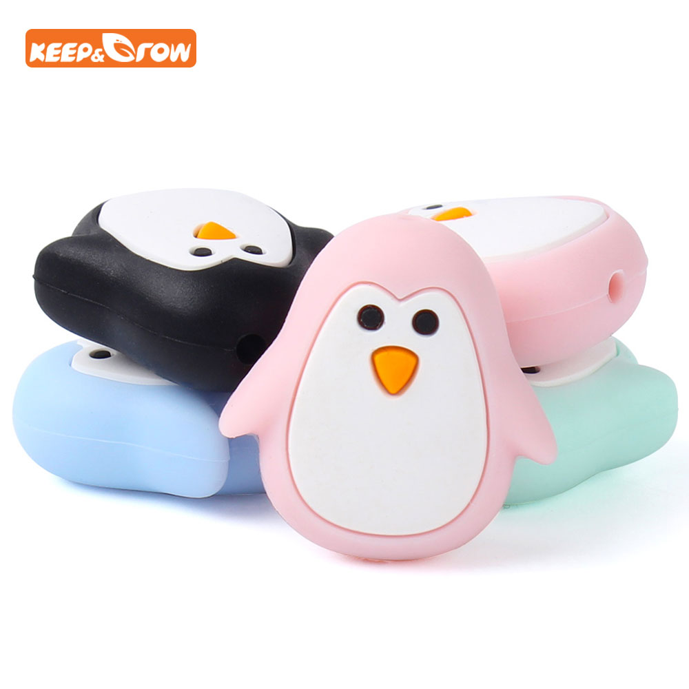 Keep&grow 5Pcs Penguin Silicone Teether Beads DIY Baby Animal Cartoon Bead Chewing Pacifier Dummy Sensory Teething Gift Toys