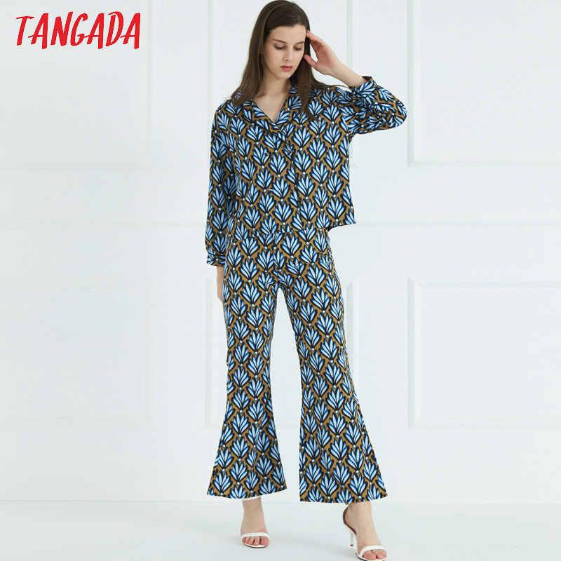 Tangada для женщин цветочный принт брюки Винтаж Высокая пояса 2019 корейский стиль Элегантный Модные женские штаны 3Z67