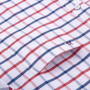 Image 3 - 남성 캐주얼 두꺼운 옥스포드 코튼 체크 무늬 스트라이프 셔츠 싱글 패치 포켓 긴 소매 표준 맞춤 버튼 다운 체크 무늬 셔츠