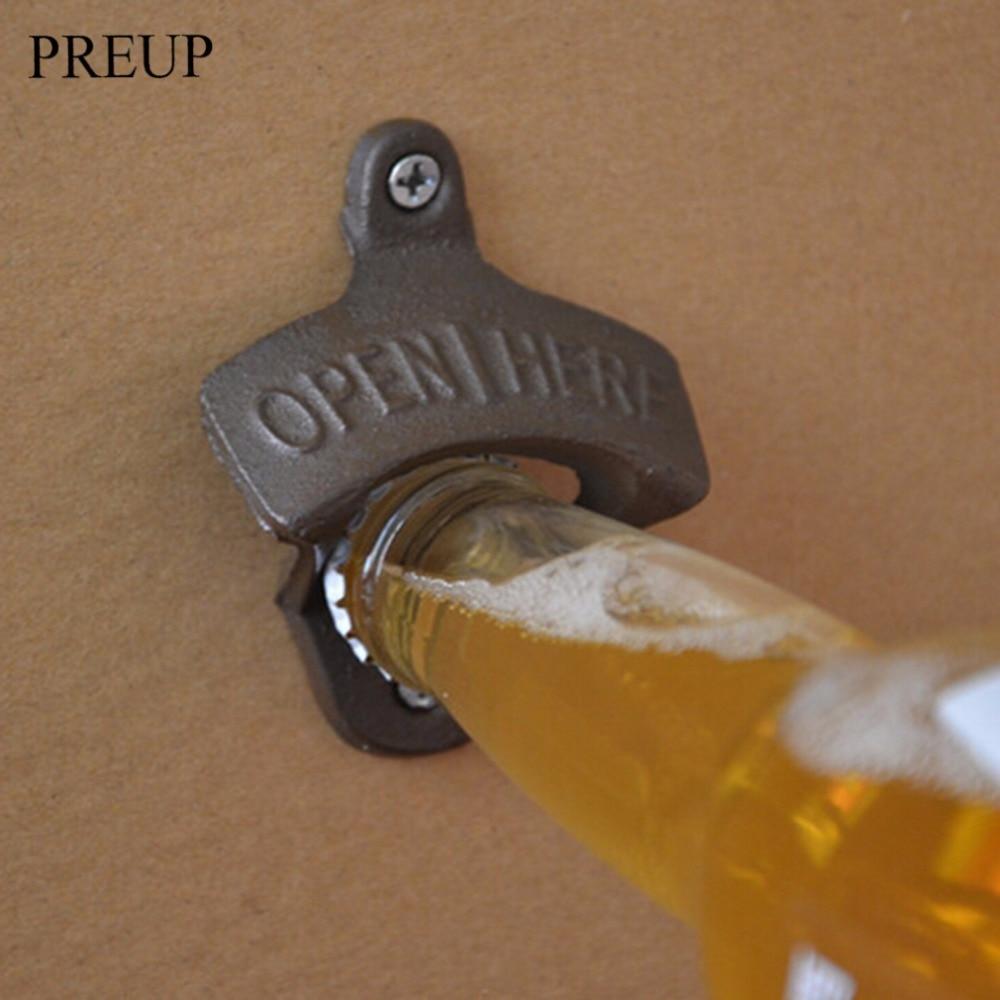 PREUP 1 Pc Vintage Rustic Iron OPENER Beer Bottle Opener Wall Hanging Antique Rust Style Bar Pub Beer Bottle Kitchen Useful Tool