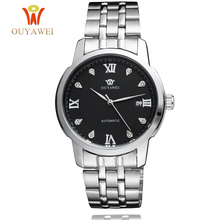 OUYAWEI Full Steel Mechanical Men Watches Brand Self Wind  Water Resistant Man Wristwatch Fashion Luxury Business Clock 2019 ouyawei full steel mechanical men watches brand self wind water resistant man wristwatch fashion luxury business clock 2019